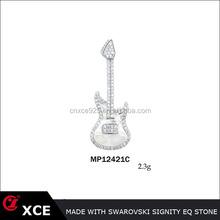 unique rhodium plating musical guitar shape lady's fashion 925 sterling silver guitar pick pendant