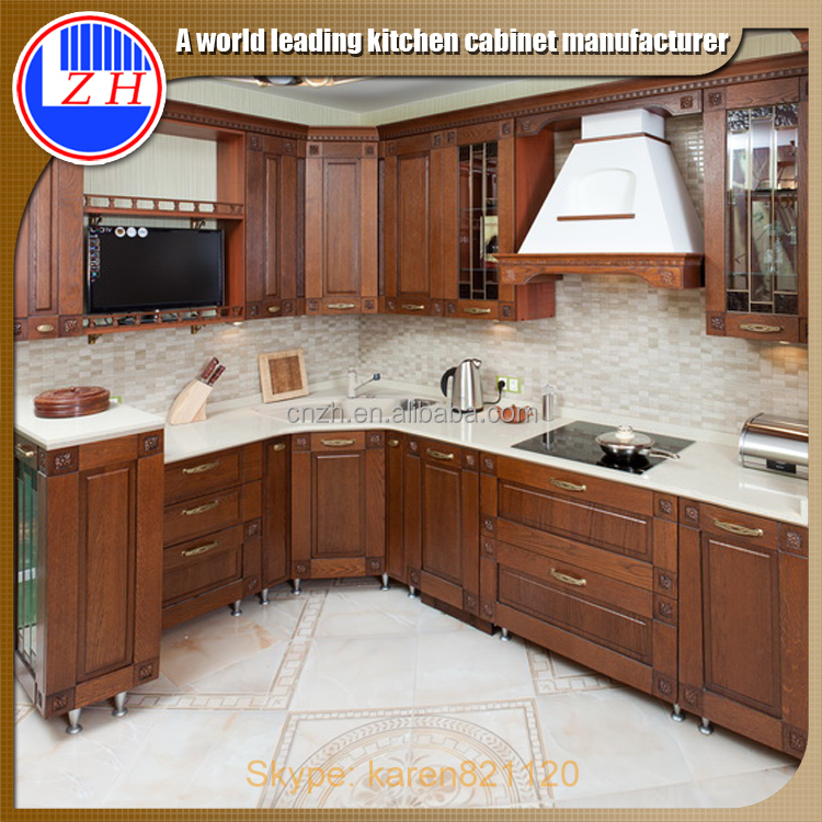 Hotel Design Kitchen Cabinet Arch And Solid Wood Doors