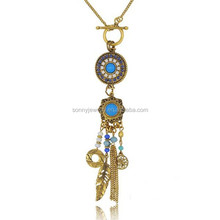 2015 Fashion Long feather coin necklace restoring ancient ways
