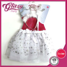 SW-1020 2015 angle carnival costume white ballet tutu in silvery dots with a white head band & fairy wand for girls