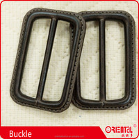 good quality plastic leather brown color coat ribbon buckle