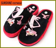 Tiger embroidery coral fleece warm winter indoor slipper for women
