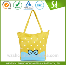 Customized printed cotton canvas tote shopping bag/yellow attracting tote shopping bag