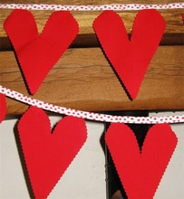 valentine red love heart fabric bunting ideal parties weddings 5 metres