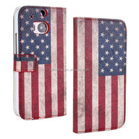 X' MAS 5% Discount!!!Factory Price!2 In 1 OWL Detachable Retro UK USA Flag Leather Case For HTC One M8 With Stand Phone Cases