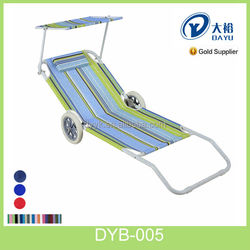 2015 Fashion relaxation folding beach bed with wheels and pillow