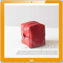 Red leather makeup bag beauty case