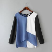 Color combination t-shirt woman blouse fashion cutting blouses design clothing woman