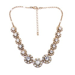 Floral crystal necklace cute statement chain necklace for women