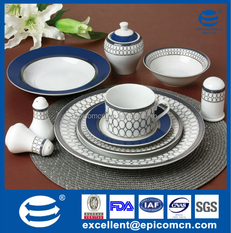 42pcs Indigo Blue Silver Super White Porcelain Dinnerware For Stores ...