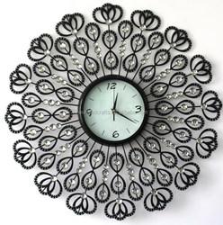 2015 special design glass printed metal wall clock