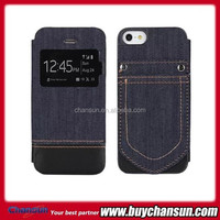 China product jean mobile phone leather case for iphone 5 5s