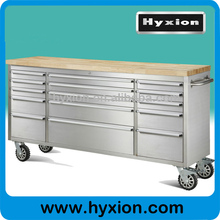 72 inch 15 drawer rolling stainless steel tool chest with wood top