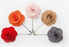 Fashion Flower lapel pin brooch, High quality grid Fabric Flower Lapel Pin long metal brooch for business Suit