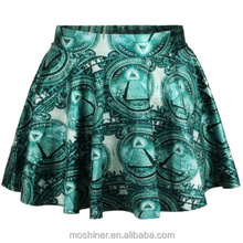 latest fashion skirts 2015,Wholesale Women Green leaves Digital Printing Puff Skirt Above Knee Plus size,pleated skirt