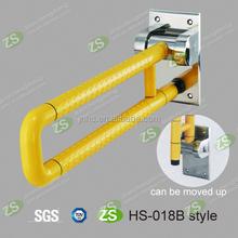 Nylon U shape bathroom safety folding metal grab bars with steel base