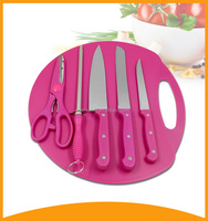 food grade kitchen tool knife set with chopping boad and sharpener