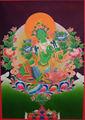 Buddha Thangka - bonito alta qualidade tara verde thangka tibetano artesanal do nepal