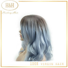 Silk Straight Ombre Silver Grey Synthetic Lace Front Wig Glueless Two Tone Natural Black/grey Heat Resistant Hair Wigs For Women