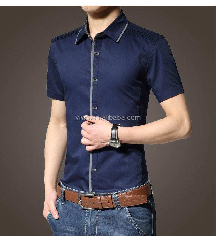 100 cotton short sleeve button down collar mens dress for Mens 100 cotton button down shirts