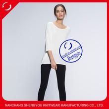 2015 China supplier custom fashion three quarter sleeve women blank t shirt wholesale