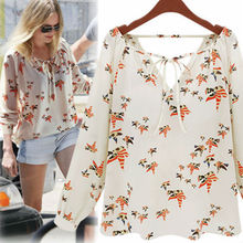 2015 tops ladies western print woman chiffon woman new blouse best instyles