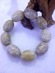 zly162 Fashion Natural Coral Stone Big Ellipse Beads Bracelets Stretch Bracelet For Unisex