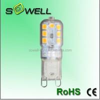 AC230V 2.5W 2700k-7000K CE/RoHS Milky and clear cover Plastic capsule G9 LED corn light Bulbs