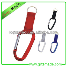 simple design of zinc alloy and lanyard tie keycahin with Carabiner