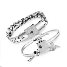 """His and Hers Matching Set Couple Titanium """"Only You Have My Key"""" Bangle Bracelet"""