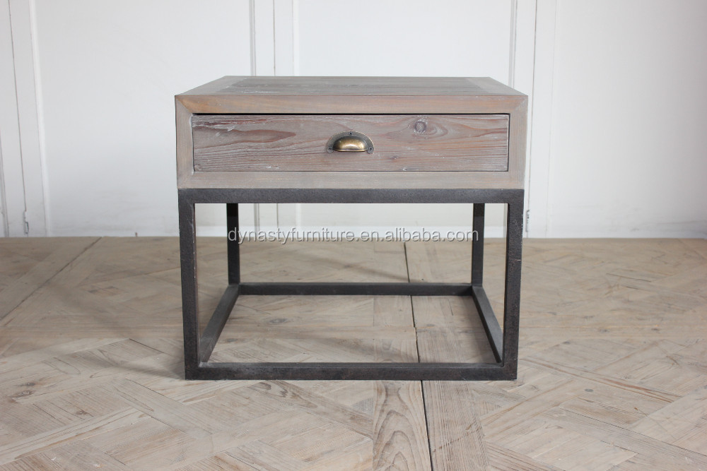 salon mobilier industriel en bois tiroir avec table d 39 appoint en m tal table en bois id de. Black Bedroom Furniture Sets. Home Design Ideas