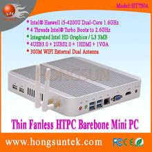 HT750A Intel Haswell i5-4200U 1.60GHz Dual Core with 4 Threads Intel Turbo Boot CPU HTPC I5 Fanless Barebone Mini PC