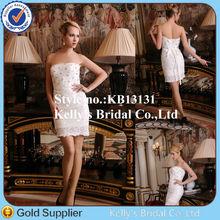 Little girl Princess newly modern design sleeveless lovely short full crystal wedding dress imported from china