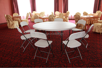 D.152cm banquet round table with two-piece top/ foldable leg, hotel cheap white 60 inch banquet round table with cover
