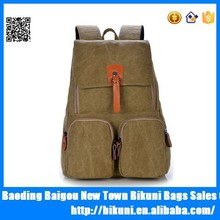 2015 fashion unisex canvas leather retro backpacks school bag