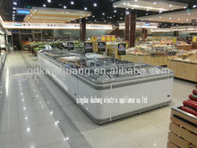 curved glass commercial Island Freezer with R404a