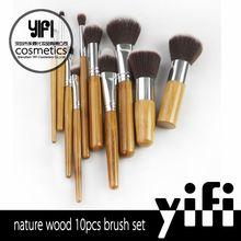 Bamboo professional hair 10pcs private makeup brush set wholesale