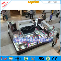 Retail Mall Wooden Cell Phone Accessories Kiosk Design For Sale