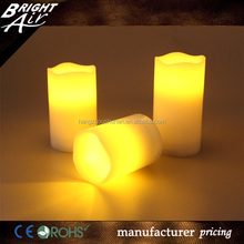3-PC white LED electronic candle set for church with remote controller
