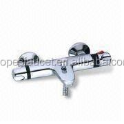 luxury double handle 8 inch rainfall shower head thermostatic bath & shower faucet set