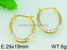 Famous young girl earring jewelry set 18k solid gold crystal drop earring