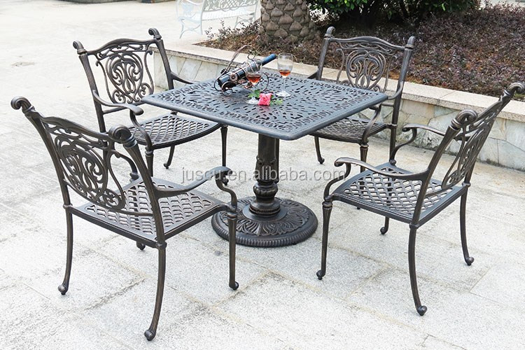 Single leg dining table and chairs square shape cast iron for Single leg dining table