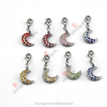 Full crystal pave silver moon charms, curved moon dangle charms for moon locket decoration