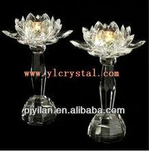 elegent altos claro de cristal flor de loto candelabro de cristal