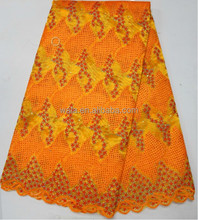 african fashion handcut cord lace fabric with flower pattern Guipure Lace Fabric LB10006-5 orange