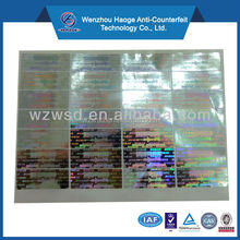 Custom anti-fake label hologram security sticker & 3D hologram laser sticker