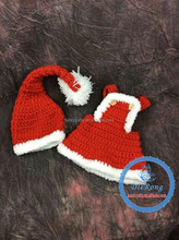 crochet baby winter hat and diaper cover set baby red Christmas hat with bodysuit