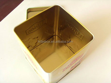 2014 new square tin box, hinged lid for metal box