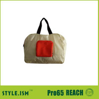 Portable Resuable reinforeced promotional tote handle bag ,polyester shopping bag