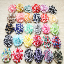 Hot sell Printed Stripe Chiffon Floral Rose Flowers For Hair, popular decorative fabric flower in USA ,AU,Pr